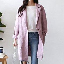 韓國代購薄外套 春夏涼爽透氣薄款棉麻罩衫顯身修長版外套 艾爾莎 【TLS00305】