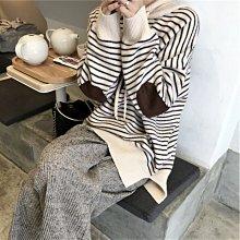 Maisobo 韓 秋冬質感舒適柔軟條紋連帽針織衫-2色 預購