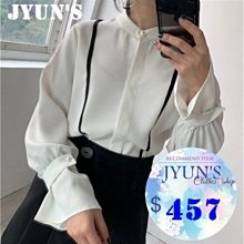 JYUN'S 新款高檔雪紡拼條珍珠扣上衣有分量設計感 雪紡上衣長袖上衣 1色 現貨