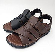 ♂️男:MIT手縫全真皮黏帶氣墊透氣涼鞋(咖/黑)、台灣手縫真皮涼鞋、氣墊涼鞋、寬口涼鞋、黏帶涼鞋