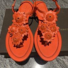 Bottega Veneta橘紅色小牛皮花朵夾腳涼鞋/平底涼鞋(38.5號)~~全新己貼底
