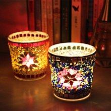 熱銷#歐式馬賽克玻璃燭臺燭杯 酒吧西餐廳道具擺件浪漫表白燭光晚餐#燭臺#裝飾