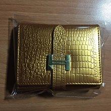 (正品免運)新款H扣女士短款小錢包鱷魚紋女式牛三折錢夾