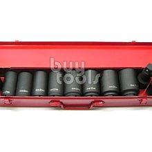 BuyTools-氣動六分長套筒組/6分氣動6角套筒組、26~41mm+4吋接桿+萬向套筒-11PCS/鐵盒包裝「含稅」