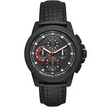 【台南 時代鐘錶 Michael Kors】MK8521 格紋賽車風格 皮革錶帶 三眼計時男錶 黑 43mm MK男錶