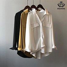 Charlotte 法式復古簡約襯衫 純色氣質顯瘦長袖襯衫 女襯衫 顯瘦襯衫 中長襯衫 長袖襯衫 假口袋 CHSH19