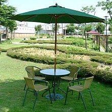 戶外休閒桌椅一組【一桌+四椅+7 木傘+傘座】綠色系列