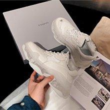 Fashion*運動鞋 港風休閑鞋 透明水晶底跑步鞋 厚底老爹鞋/跟高6CM 34-40碼 黑色 白色