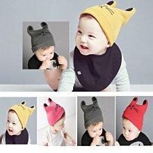 小福妹 秋冬新款男女寶寶貓耳朵護耳帽子 嬰兒童牛角套頭帽 保暖針織帽子 保暖帽 護耳帽