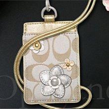 全新 COACH 63533 卡其logo織布金色真皮花朵ID夾 證件夾 識別證夾 悠遊卡夾 免運費 愛Coach包包