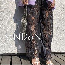 SaNDoN x『AMERI』黑石奈央子著用 秀場秀服透視感設計蕾絲精緻強烈直筒寬褲  200704