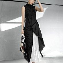 ►DR.DESIGN│DR32618-小眾暗黑走秀款 修身顯瘦氣質 不規則皺褶 無袖 雙層網紗 黑色 斜扣設計翻領連身裙