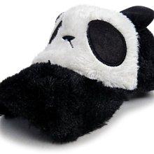 【超Q風格☆D101-1☆可愛貓熊毛毛棒球帽-黑色款】帽子專賣店