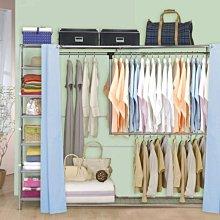 衣櫥【澄境】雙層雙桿伸縮衣櫥(附34公分收納櫃)  衣架/置物架/層架/收納架(G)