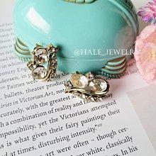黑爾典藏西洋古董~美國1950年©coro流線玻璃水鑽夾式耳環~復古珠寶收藏法式水晶燈