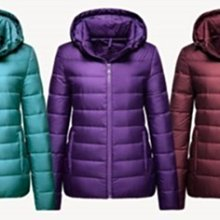 全新 ~ lativ 特級鵝絨 連帽 羽絨外套 - 深紫(M)  防風保暖
