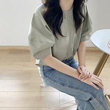 NANAS【A05264】好美的顏色~chic韓國氣質簡約設計感拼接泡泡袖襯衫 特價 預購