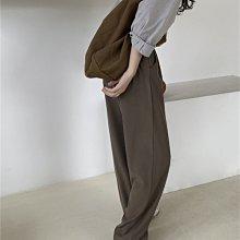 長褲西裝褲 超顯瘦長寬褲 前打褶後鬆緊腰闊腿褲直筒褲 艾爾莎【TAE8548】