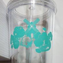 風車  樹 水果  魚  動物  透明 雙層水杯瓶   有蓋子的杯子   附吸管   耐熱  90度C   600ML