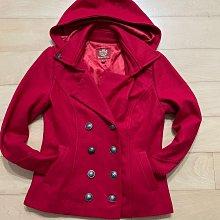 專櫃品牌Knightsbridge 正 紅色 羊毛呢混紡 風衣軍裝風 連帽可拆 保暖外套