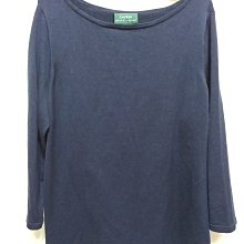 美國品牌Lauran Ralph lauran 深藍色7分袖84%蠶絲真絲silk 上衣1X