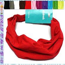 ☆POLLY媽☆歐美claire's黑色、咖啡、紅、綠…11色針織棉質頭巾式寬版髮帶~寬18、20cm