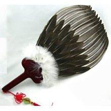 孔明扇 八卦扇 羽毛扇 3層鵝毛扇子 手工藝品扇-黑色、白色備註即可