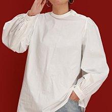 ►DR.DESIGN│DR32621-慵懶風 小眾 薄款 純色 前短後長 斜紋仿天絲 珍珠扣 小高領 襯衫 黑/白/卡其