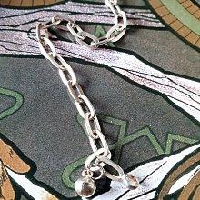 黑爾典藏西洋古董~純銀925銀長圈圈純銀小鈴鐺手鍊~美國品牌時尚走秀雜誌情人節巧克力