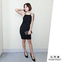 GW 歐美簡約 黑色削肩短洋裝 貼身禮服 婚禮派對宴會 F尺寸 XS-L GUESSWHAT