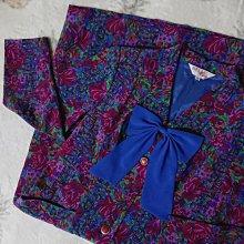 BELLE Lady復古雪紡長袖長洋裝 外套-寶藍富貴桃紅花14