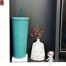 【格格屋】Starbucks榴槤杯 24OZ冷水杯 星巴克 黑色雙面印磨砂吸管杯
