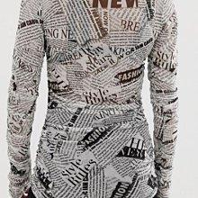 英國品牌British labe永不無聊never-ending fun流行品牌 黑白報紙印花紗質感透膚彈性抓皺長袖上衣