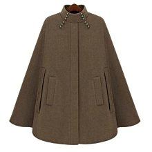 時尚別緻質感短大衣 小立領珠飾傘狀斗篷毛呢外套 艾爾莎【TAE8655】