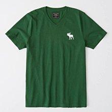 Maple麋鹿小舖 Abercrombie&Fitch * AF 綠色V領麋鹿LOGO素面短T*( 現貨M號 )