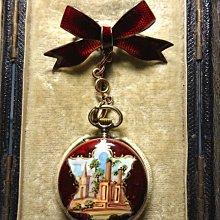 西風(((罕見瑞士875純銀紅色扭索飾圖琺瑯女裝別針錶(有原盒)