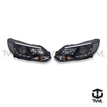 《※台灣之光※》全新 FORD 福特 FOCUS 13 14年LED光條光柱光棒版R8 DRL樣式黑底魚眼投射大燈組