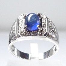 【連漢精品交流中心】《天然藍寶石 2.15CT 》14白K金設計款奢華 藍寶石鑽戒(男女皆可戴)