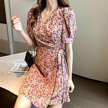 YOHO 短袖洋裝 (HH0428-8) 小編推薦款:必入手的法式復古甜美V領碎花雪紡連身裙  S-XL 有2色