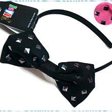 ☆POLLY媽☆歐美BRASH綴黑銅金屬片麂皮布大蝴蝶結窄版髮箍USD$9.99~粉桃紅、黑色