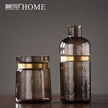 〖洋碼頭〗美式茶色玻璃花瓶擺件 現代簡約時尚客廳插花花器 樣板間軟裝飾品 ywj411