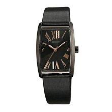 可議價 ORIENT東方錶 女 皮帶長形黑色 石英腕錶 (FQCBE001B) 37mm