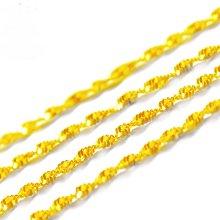 8號A4寬約2mm長47公分歐幣女士水波鏈飾品 黃銅金模擬金首飾爆款項鍊