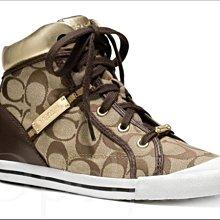 Coach Shoes 卡其織布金色真皮邊 綁鞋帶高筒布鞋休閒鞋羽球鞋懶人鞋慢跑鞋8.5號 25.5號 免運費