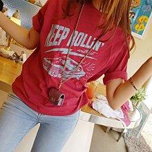 【現貨白/紅】韓國女裝 正韓率性美式復古奔馳跑車潮T【US318686】