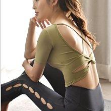 愛運動~外穿瑜伽健身運動休閒套裝/彈力修身顯瘦交叉美背緊身高腰提臀/綜合訓練運動上衣+長褲套裝   R3215