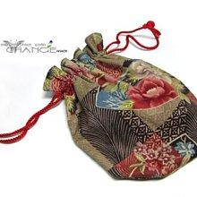 Change Fashion【羽采蝶】日本帶回古典雅致和風日式花繪棉繩束口零錢袋/雙面花色