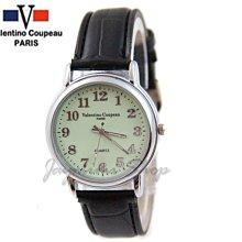 【JAYMIMI傑米】Valentino范倫鐵諾古柏皮帶手腕錶-黑色皮帶手腕錶系列-夜光數字面 特價490