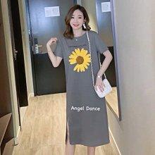 *Angel  Dance*短袖純棉洋裝(2色)@韓國 M到4XL 小雛菊 開叉 T恤裙 顯瘦 大中尺碼@現貨+預購