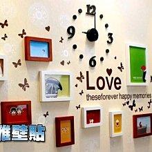 【立雅壁貼】高品質實木相框牆(附進口藍丁膠.不傷牆面)+壁貼+靜音時鍾《壁貼時鍾PF721》